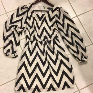 Chevron Black and white A-line dress